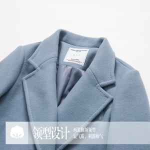 棉立方秋冬修身毛呢外套女中长款韩版2017新款羊毛复古呢子大衣厚
