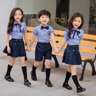 夏短袖 小学生校服套装 中学生英伦学院风儿童毕业照幼儿园班服园服