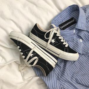 黄洛林2020春季新款韩版帆布鞋子女学生百搭保暖二棉鞋星星板鞋潮
