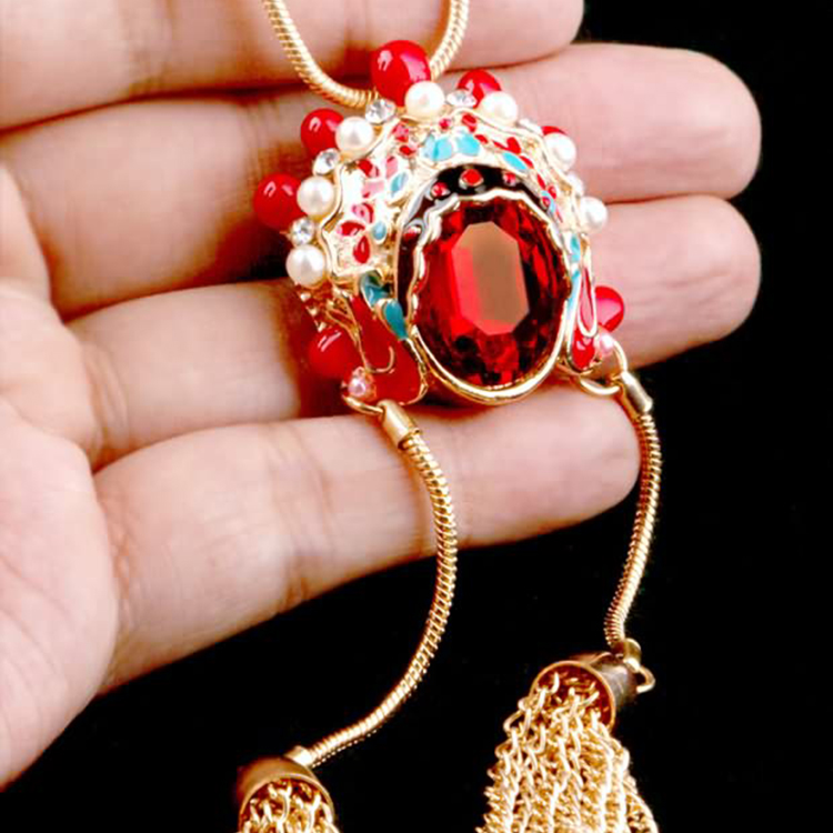 National Chinese style Beijing opera facial makeup Huadan Dao Madan sweater chain antique style versatile long tassel crystal necklace for women