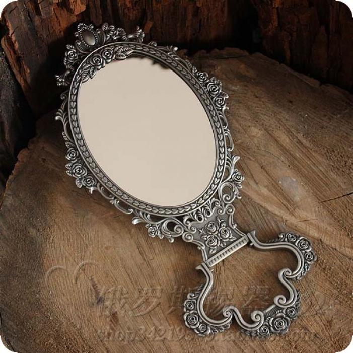 俄罗斯锡制化妆镜 欧式古典台式双面美容镜 锡器 椭圆镜子 梳妆镜