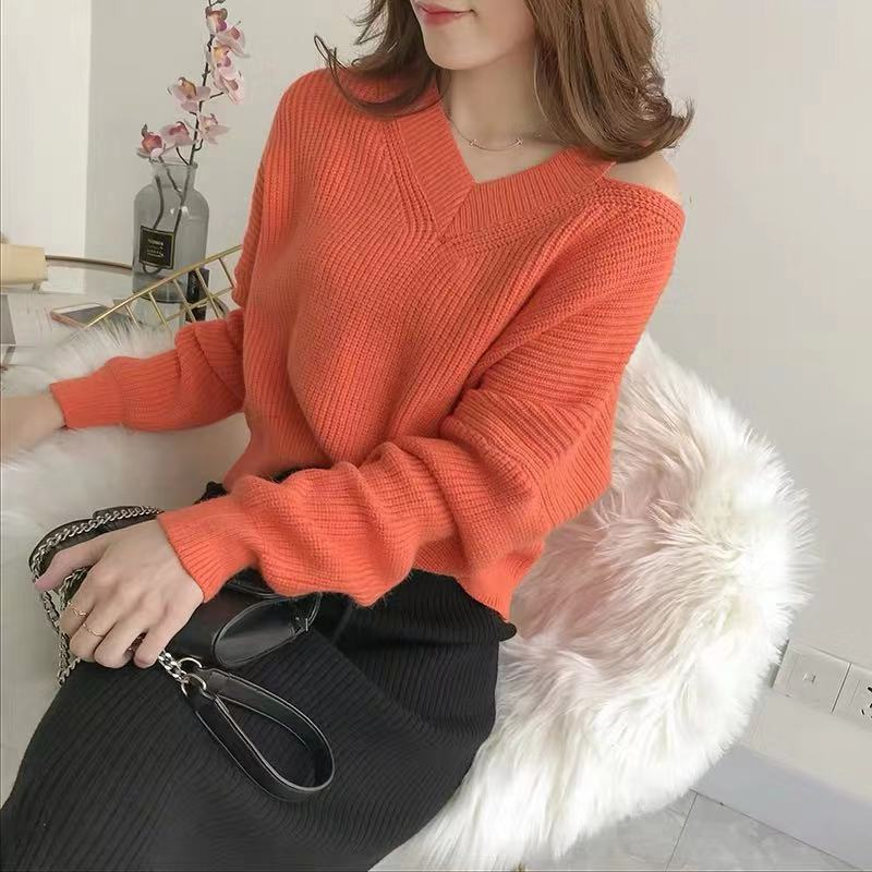 Off shoulder V-Neck Sweater, South Korea east gate, autumn new style pullover, loose and lazy style, short style for women