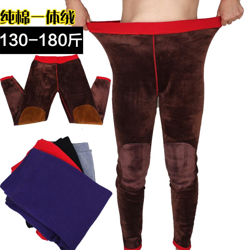 中老年保暖裤女加绒加厚内穿冬天打底一体加肥加大码秋裤高腰妈妈