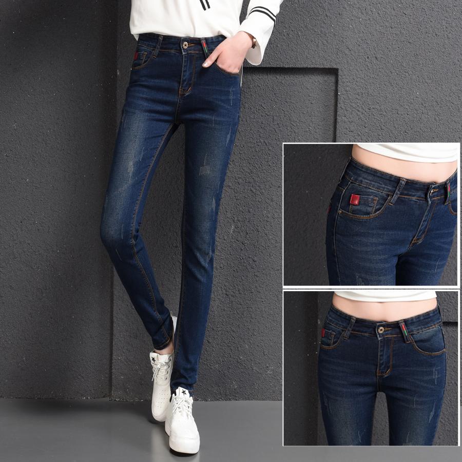 实拍新款秋冬季紧身牛仔长裤高腰弹力刺绣皮牌小脚铅笔长裤