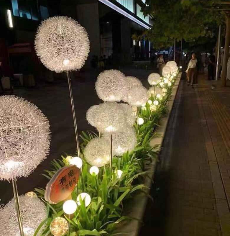 Solar dandelion lamp, ground inserted lawn lamp, reed lamp, ball outdoor garden waterproof landscape decorative lamp