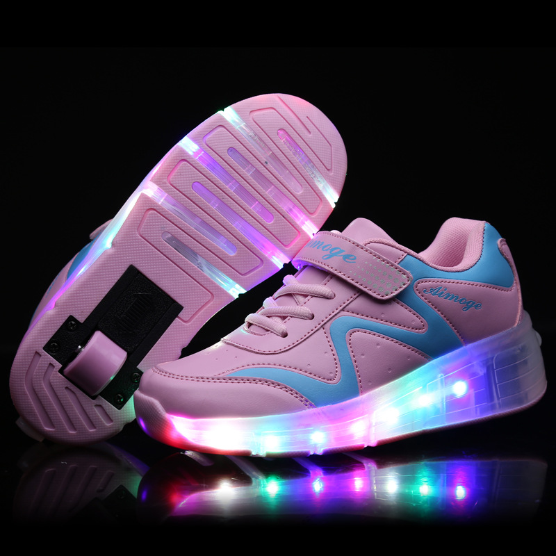 children sneaker shoes lighted up wheel sports roller shoes