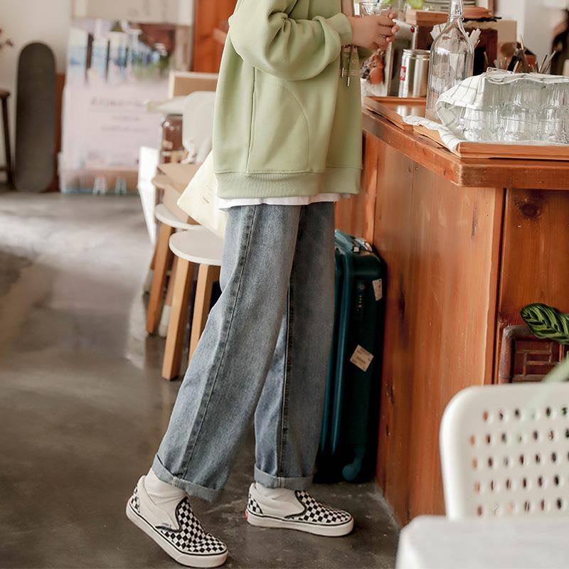 【现货】忠犬小八梨形自制-山海谣-显瘦h直筒宽松牛仔长裤女加绒
