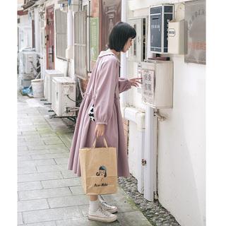 忠犬小八梨形自制-纯色连衣裙-长袖褶皱收腰显瘦紫色连衣裙学生女