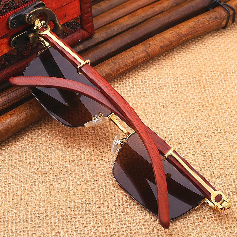 天然茶水晶镜片石头眼镜东海石头镜新款纯石男女太阳镜墨镜实木腿