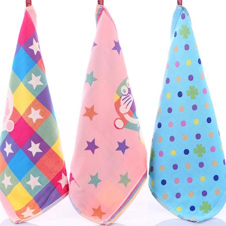 3条包邮 三层纱布纯棉方巾幼儿园宝宝儿童卡通洗脸擦手挂巾小毛巾