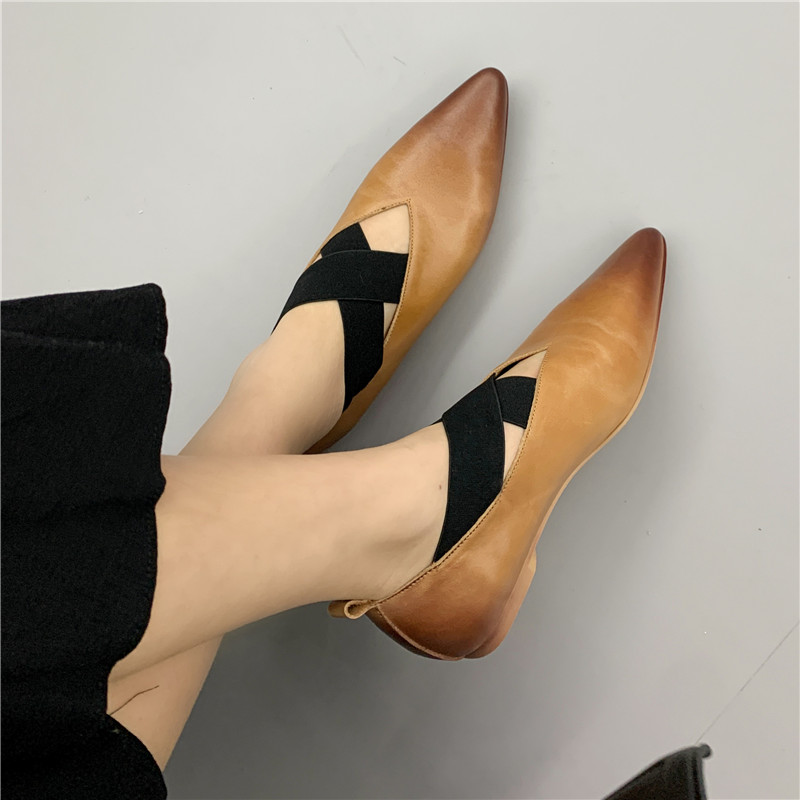 2021 new literature and art retro shoes womens ballet shoes cowhide pointed cross strap flat bottom Mary Jane single shoes 42