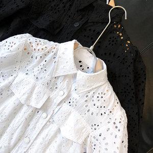 MO亲妈! v领吊带纽扣镂空翻领泡泡袖两件套连衣裙夏季短款