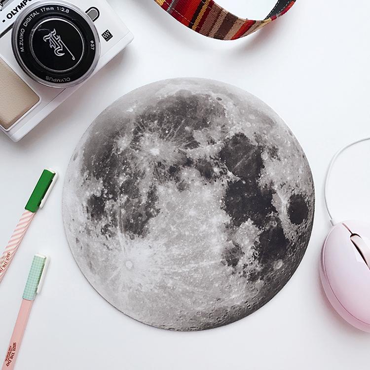 手慢无月亮鼠标垫月球圆形时尚创意个性中秋礼物电脑小号笔记本鼠标垫
