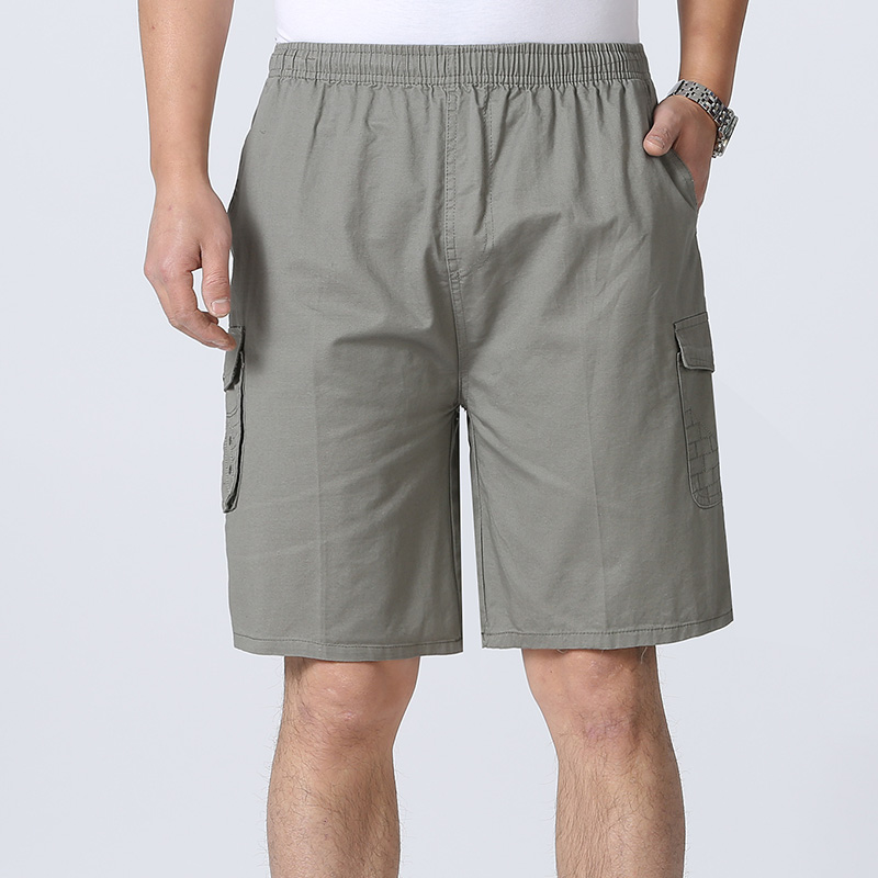 2021 spring and summer season new middle-aged and old mens Capris casual loose no iron mens tooling shorts