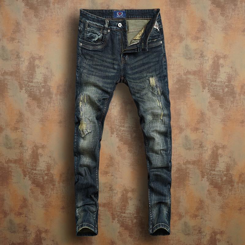 希戈图秋冬厚款欧美复古深色中低腰修身弹力小脚牛仔裤男士破洞潮