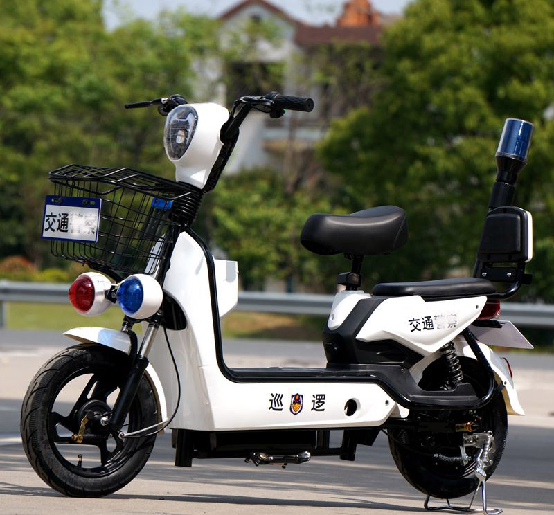 Security patrol electric vehicle business vehicle traffic management electric bicycle red and blue flash community property