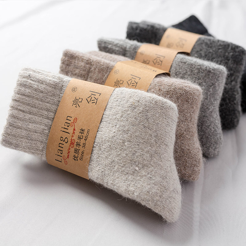 Winter extra thick snow wool boots for men and women warm thickened Plush towel socks solid color antifreeze artifact medium high tube