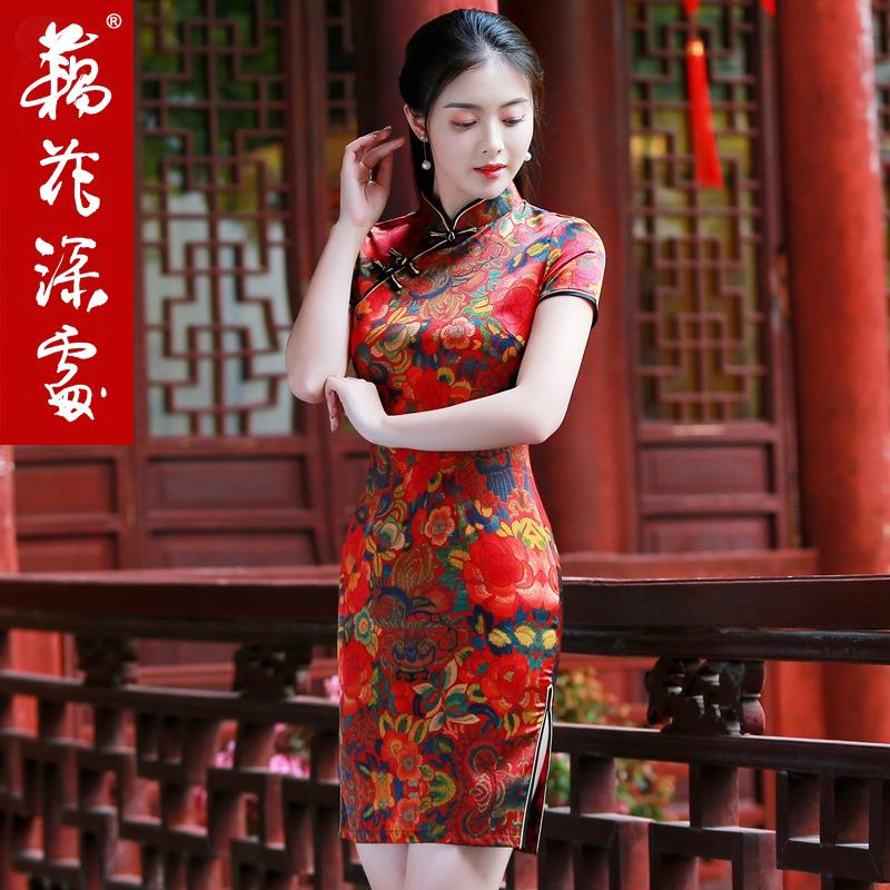 真丝旗袍裙少女夏2018新款桑蚕丝中国风改良版低领年轻款短款礼服