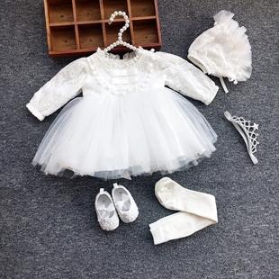 嬰兒公主裙春秋冬女寶寶週歲裙滿月百天禮服長袖百日宴連衣裙洋氣