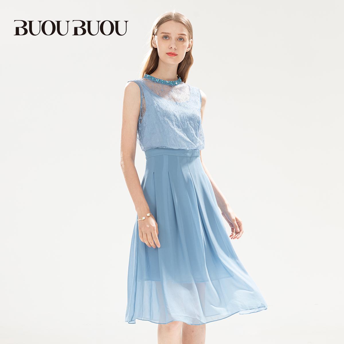 BUOUBUOU女装夏季清仓折扣钉珠蕾丝拼接连衣裙DE2G081