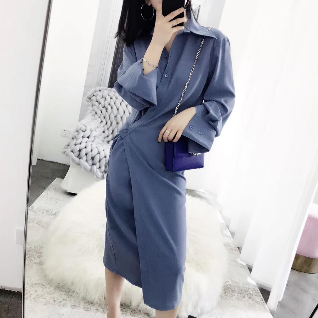 多种穿法不对称衬衫连衣裙女2018春夏新款韩版不规则中长款衬衫裙
