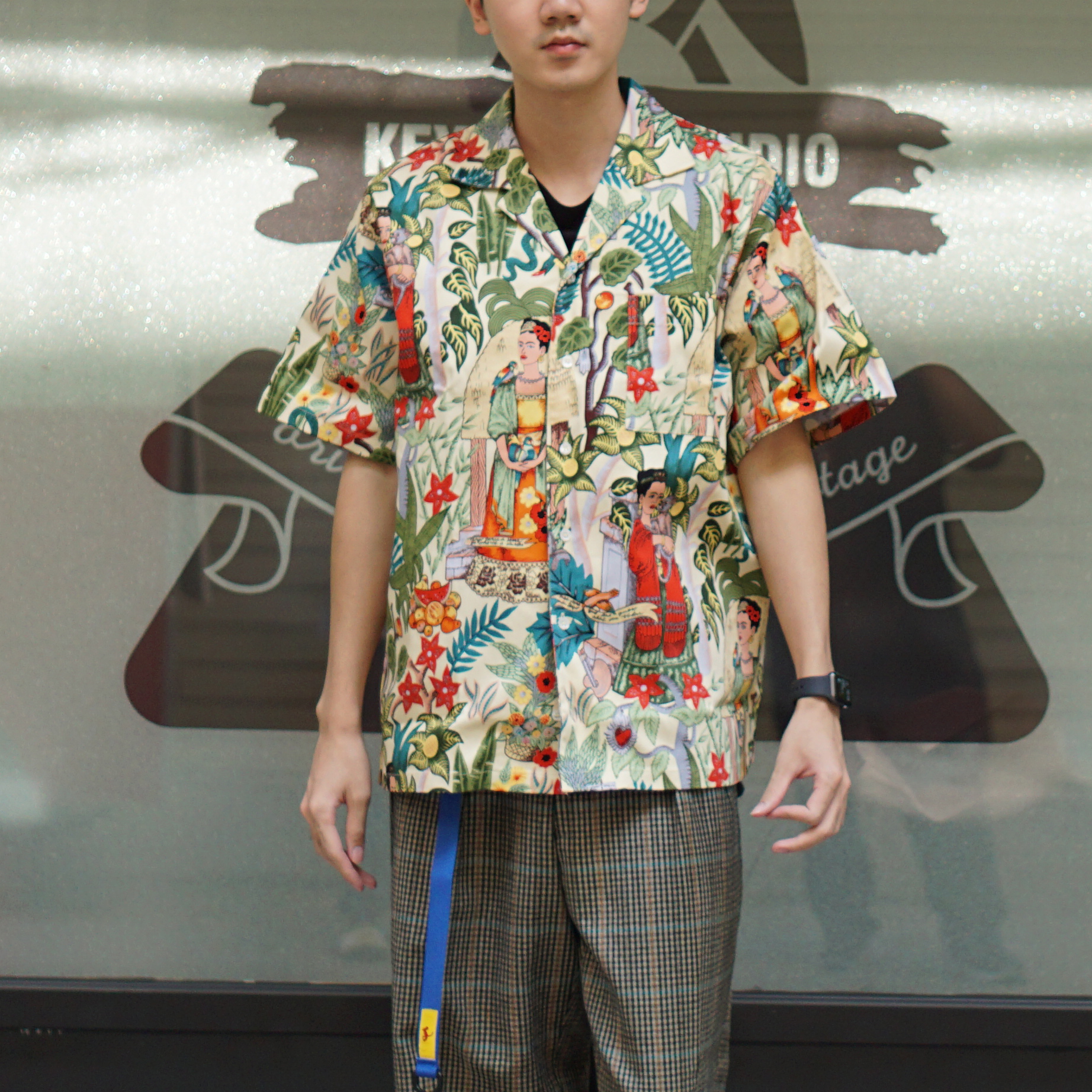 Hawaiian Shirt Short Sleeve plant pattern shirt Cuban Collar Shirt Short Sleeve original design shirt