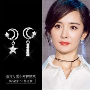 6352#韓國氣質簡約個性不對稱鋯石星星月亮耳環925銀耳飾品