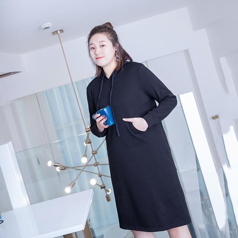 11-11上新【看直播+收藏加购+领券下单】胖mm连帽毛球加绒连衣裙