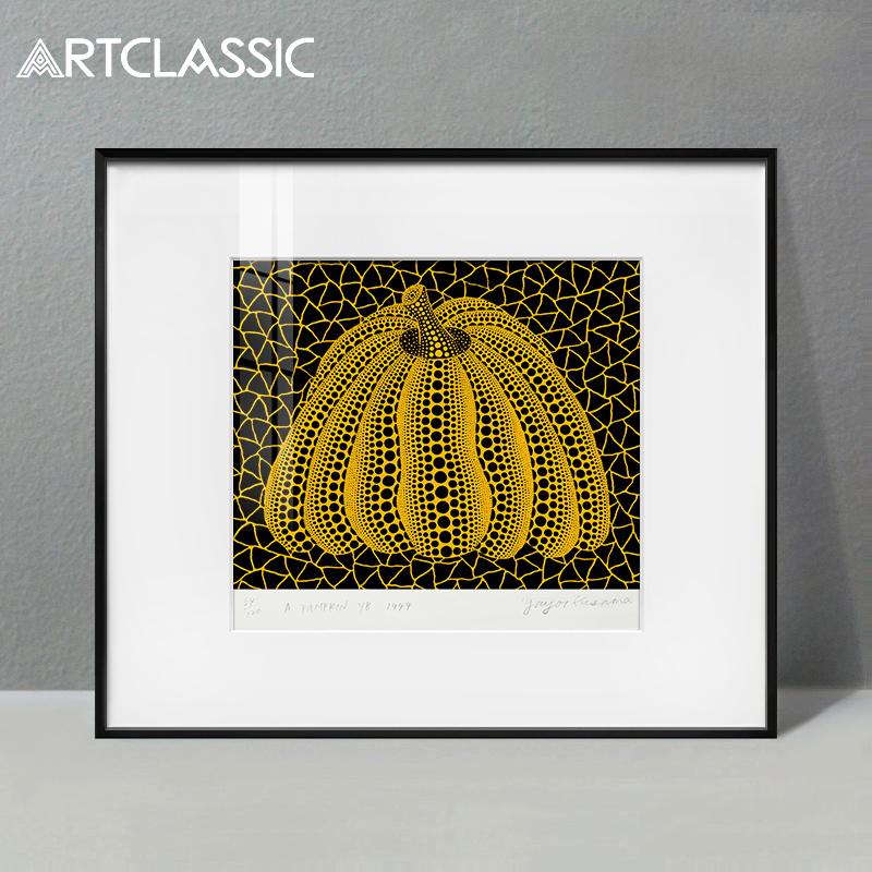 掛畫日本簽名限量草間彌生版畫ARTCLASSIC現代裝飾畫沉睡的南瓜