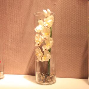 wo+仿真花蕙兰 兰花透明玻璃花器花艺套装家居玄关装饰花摆设