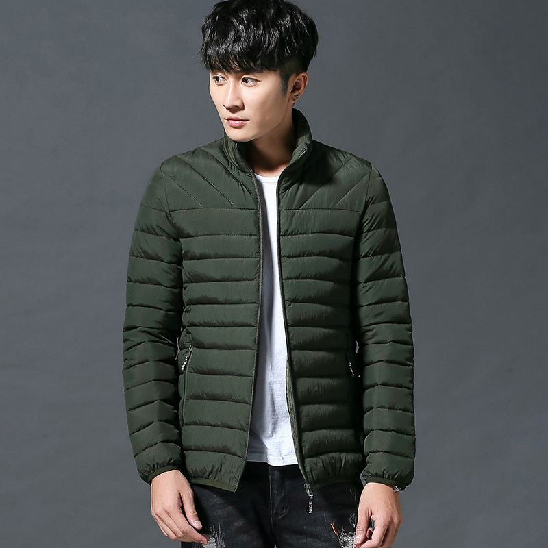 South Korean mens light and thin down cotton padded clothes solid color slim short youth leisure oversized sports jacket coat