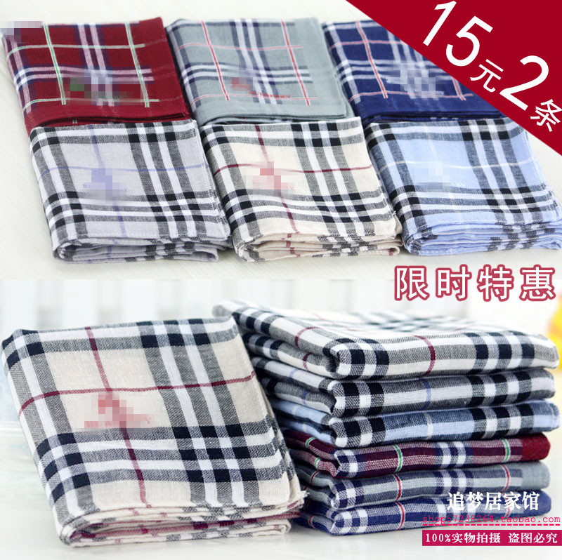 Export pure cotton gauze handkerchief cotton yarn dyed Plaid towel, golden standard plaid scarf, childrens scarf