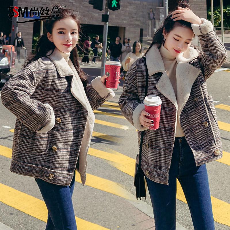 尚丝蔓2017冬季新款韩版修身时尚短款格子羊羔毛毛呢外套 女