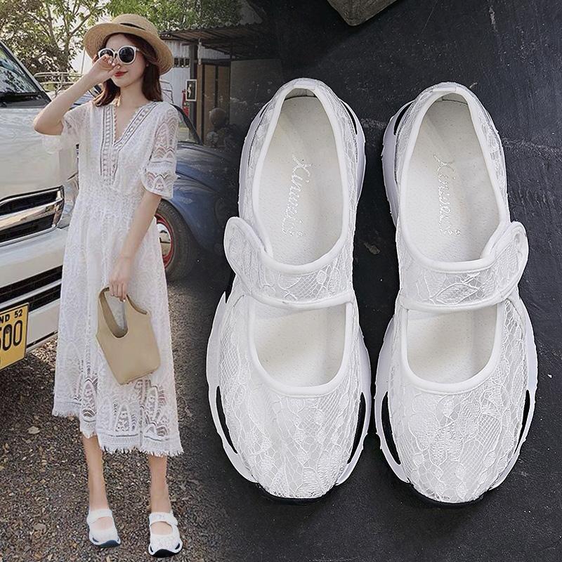 2020新款夏魔术贴小白孕妇鞋浅口玛丽珍奶奶鞋单鞋网鞋女透气网面