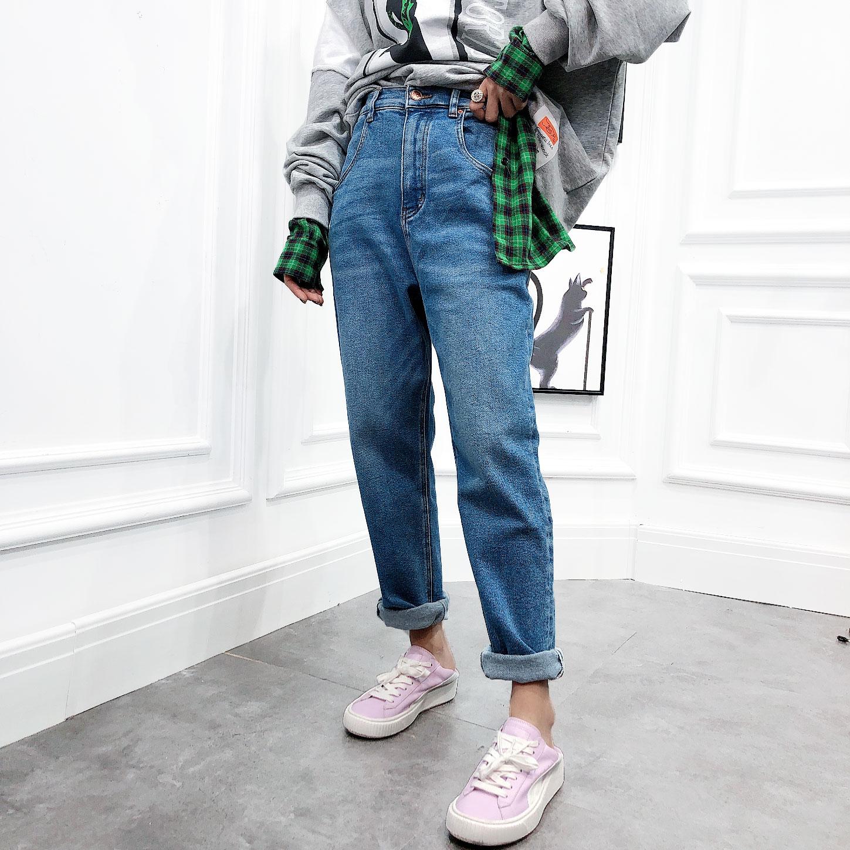 欧洲站2019冬季新款高腰净版纯色加绒老爹裤长裤牛仔裤女裤子欧货