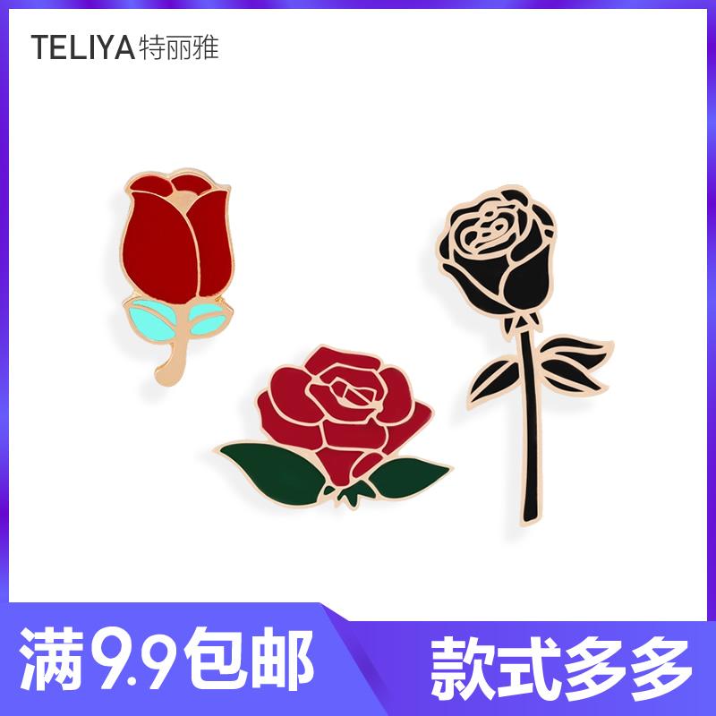 时尚红黑玫瑰胸针创意翻领夹徽章情侣浪漫礼物胸花牛仔衬帽子勋章