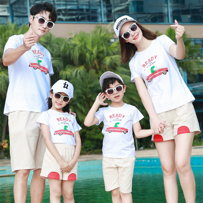 Two brothers parent-child clothes mother and son summer fashion wide leg pants suit for a family of three, four and five
