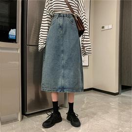 半身裙2020秋季新款大码女装胖妹妹mm遮胯显瘦中长款高腰牛仔裙子