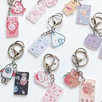 查看小熊钥匙扣韩国少女心卡通挂饰学生书包挂件创意简约耳机套挂链圈价格