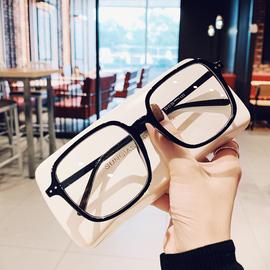 加大显脸小方形粗黑框眼镜架男士韩版素颜装饰平光镜可配近视眼睛
