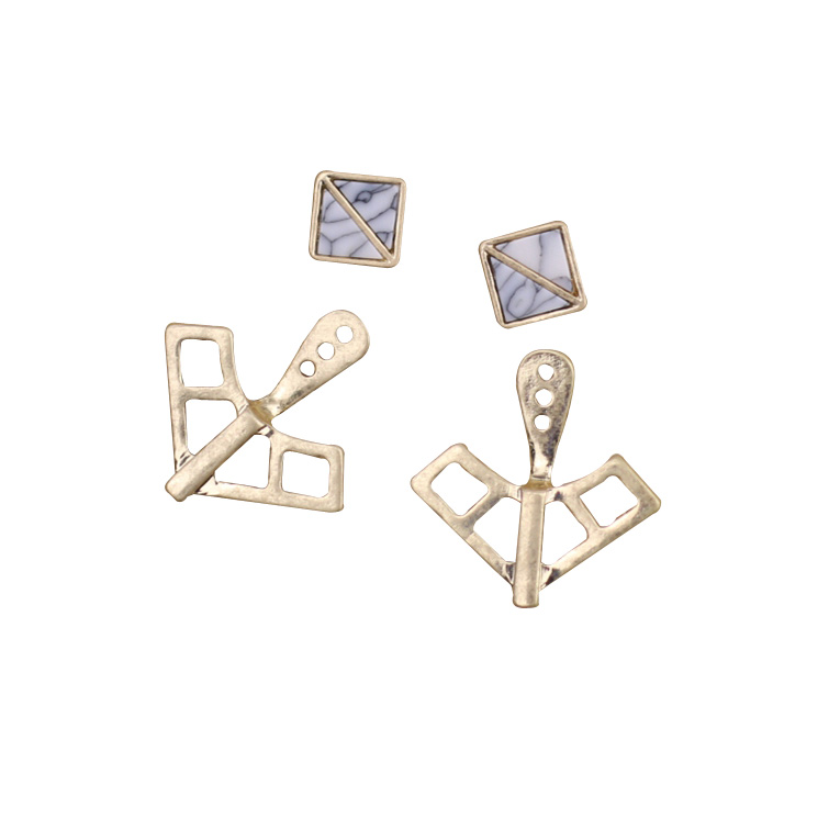 Greenfield European and American style fashion jewelry refined geometry synthetic stone detachable earrings for women