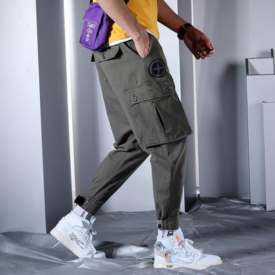 19九分大码工装裤子精品宽松潮流多口袋迷彩9分小脚裤619P65