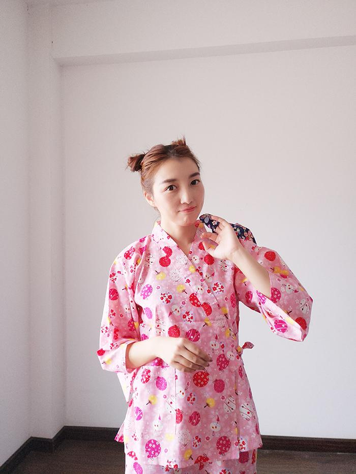 自制日式和风家居服开运金鱼团扇浴衣浴袍甚平和服睡衣温泉汗蒸服