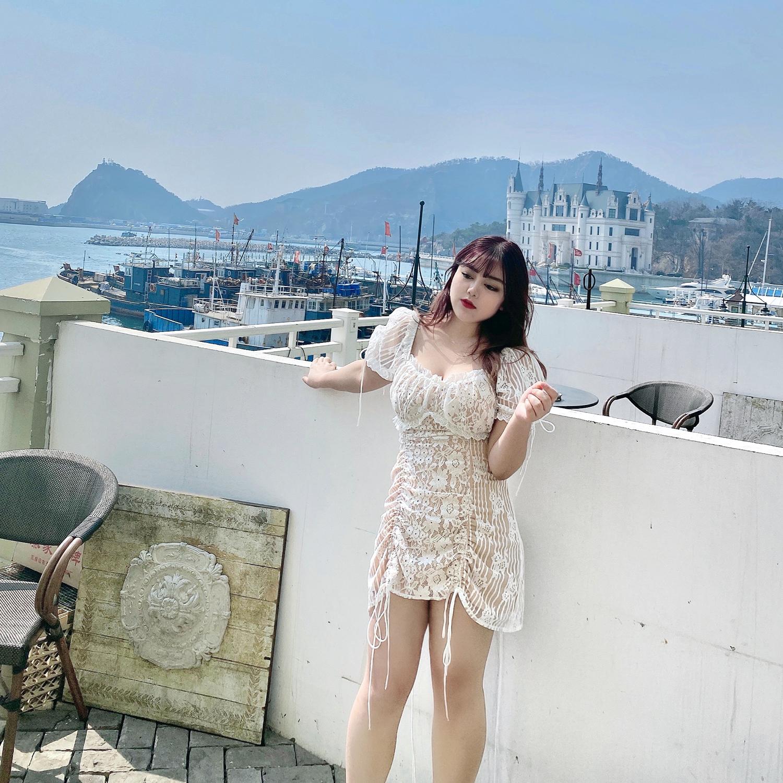MCR大码女装性感蕾丝连衣裙胖MM夏装新款欧美洋气减龄遮肚连衣裙