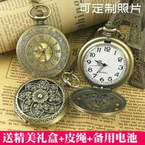 罗马怀表复古翻盖吊坠可放照片男学生石英女电子项链机械老人手表