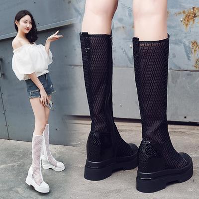 长靴女夏包头凉靴2019新款网纱时装厚底高筒靴内增高8cm女靴凉鞋