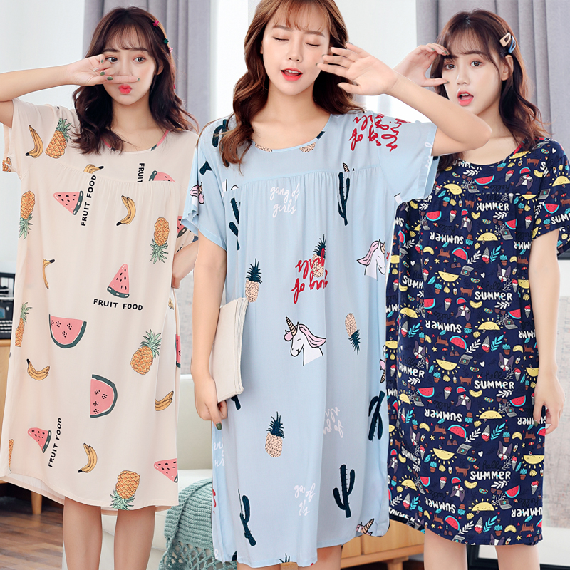 Pajamas women summer pure cotton nightdress summer fattening plus size womens cotton home wear long nightdress can be worn outside