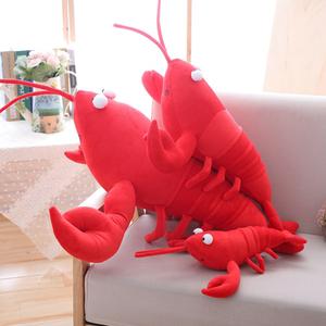 红色大螃蟹小龙虾玩偶睡觉抱抱枕