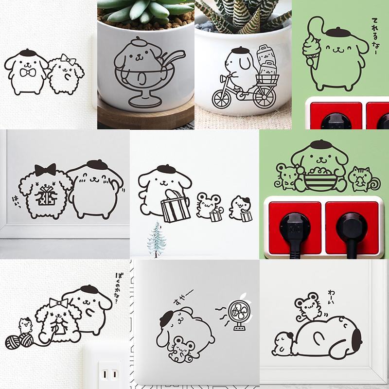 POM POM кожзаменитель RIN пудинг собака милый творческий анимация мультики ноутбук наклейки коммутатор резерва наклейки для стен бумага