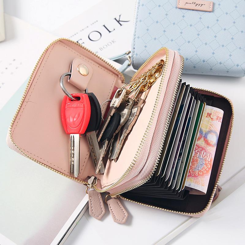 車鑰匙卡包二合一可愛多功能女士簡約便攜鎖匙包扣雙層拉鏈零錢包
